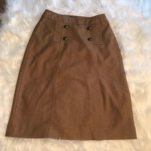 The Limited Tan Pencil Skirt Metal Buttons